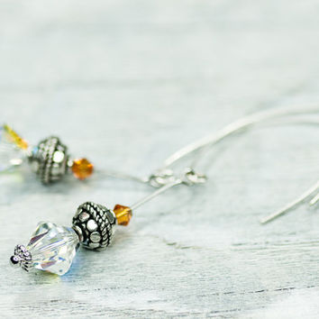 Dangle Crystal Earrings, OOAK Swarovski Earrings, Vintage Inspired Bridal Earrings, Long Crystal Earrings, Autumn September Fashion Jewelry