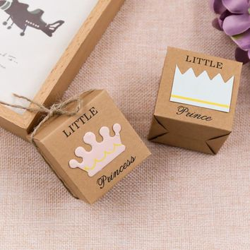 Cool 50Pcs/set Wedding Party Decoration Kraft Paper Candy Boxes King Queen Couple Crown For Home and Party DecorAT_93_12