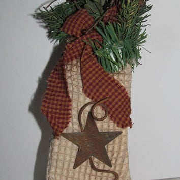 Rustic Primitive Christmas Stocking Primitive Christmas Decor Fireplace Mantle Decor Rusty Stars Primitve Rustic Decor Wall Hanging