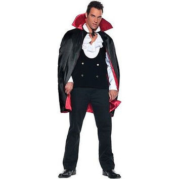 Deluxe Reversible Vampire Cape Black & Red Satin Dracula Halloween Costume