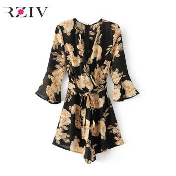 RZIV 2017 jumpsuit women casual simple color jumpsuit flowers printed belt belt jumpsuit