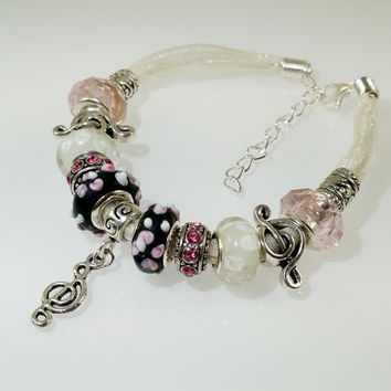 European Charm Bracelet Music Handmade Black White Pink lampwork murano glass bead leather ribbon with Rhinestone & Tibetan silver charms