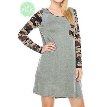Lovely J long sleeve dress with camo sleeves and pockets