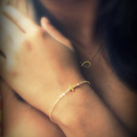 Gold Cross Bracelet, Sideways Cross Bracelet, Dainty Bracelet, Gold and Chain Side Cross Bracelet, Tiny