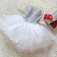 Sweet princess temperament diamond strapless ball gown- 2colors in