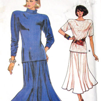 Oversized Top Flared Skirt Vintage 80s sewing pattern knit dress turtleneck top t shirt tee shoulder pads womens size 8 10 12 Vogue 9706