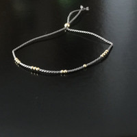 Gold or Silver Beaded Silk Bracelet or Anklet // Gold Bead and Silk Cord Thread Friendship Bracelet