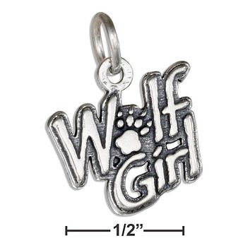 """STERLING SILVER """"WOLF GIRL"""" MESSAGE CHARM"""