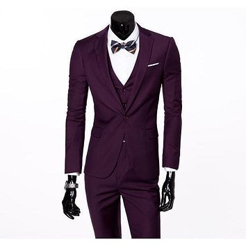 Men's Purple One Button Slim Fit Suit - Three Piece