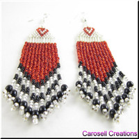 The Sweet Heart Beadwork Long Fringe Seed Bead Earrings in Red, Black and White