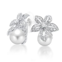 Bling Jewelry Flower Bridal CZ Simulated Pearl Earrings 9mm Rhodium Plated