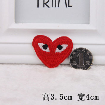 Hot sale 1PC Red hear Iron On Embroidered Patch For Cloth Cartoon Badge patch Garment Appliques DIY Accessory