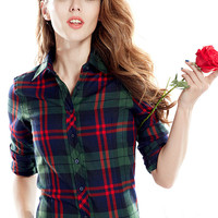 Military Green And Red Plaid Print Long Sleeve Shirt Collar Blouse
