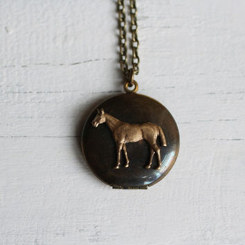 Horse Locket ... Vintage Antique Brass with Thick Bronze Chain