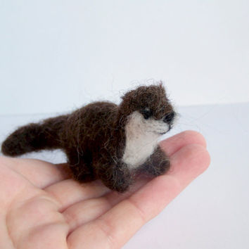 Needle Felted Otter Miniature Felt Animal Soft by Knittynudo