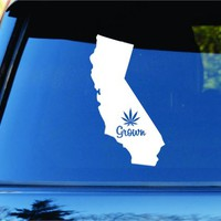 Dabbledown Decals California Grown State Shape Weed Leaf Car Truck Window Windshield Lettering Decal Sticker Decals Stickers JDM Drift Dub Vw Lowered Jdm Fresh Detailed Stance Fitment 4x4