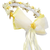 Yellow Floral Crown Wreath Handmade with Silk Flowers, Satin Ribbons & Bows (Girls)