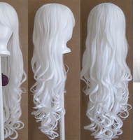 29'' Long Curly w/ Long Bangs White Cosplay Wig NEW