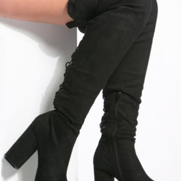 Black Faux Suede Thigh High Chunky Platform Boots @ Cicihot Boots Catalog:women's winter boots,leather thigh high boots,black platform knee high boots,over the knee boots,Go Go boots,cowgirl boots,gladiator boots,womens dress boots,skirt boots.