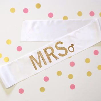MRS Diamond Ring White Sash
