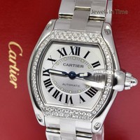 Cartier Roadster Steel & Diamond Silver Dial Mens Automatic Watch 2510