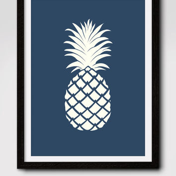60% OFF SALE Navy Pineapple Print, Printable Wall art, Pineapple Print, Modern Wall Art, Pineapple Art,  Navy Wall Art, Instant Download