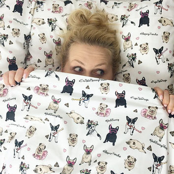 Queen Bedding Set - Dogs Attack - Yeah Bunny - Frenchie & Pug