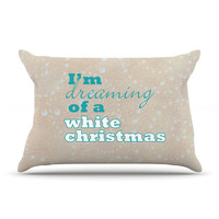 "Sylvia Cook ""White Christmas"" Brown Teal Pillow Case"