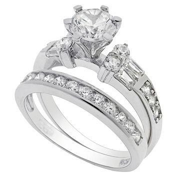 Sterling Silver Wedding Ring Set CZ Engagement Solitaire Ring and Band size 4- 9
