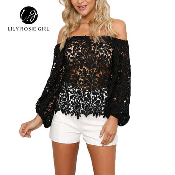 Black Sexy Club Off Shoulder Hollow Out Women Blouses Summer Beach Style Long Sleeve Party Girls Blusas Shirts Tops