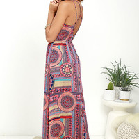 Sunrise to Sunset Coral Pink Print Maxi Dress