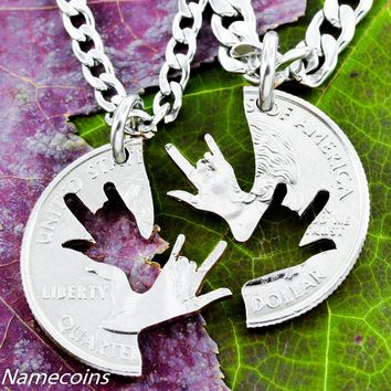 ASL I Love you sign, Best Friends Necklaces