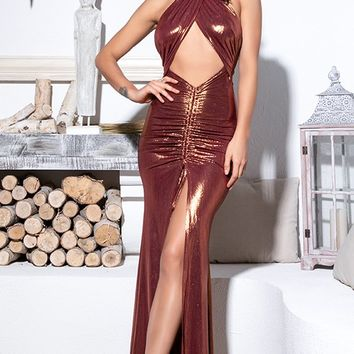 e1f8c8743c9d Hold Back The Night Rose Gold Metallic Lame Sleeveless Wrap Back