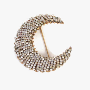 Vintage 50s HASKELL BROOCH / 1950s Signed Pearl Crescent MOON Pin