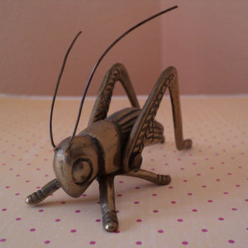 Brass Cricket Grasshopper Good Luck Hearth Ornament Desk Paperweight Lucky Charm Conversation Piece