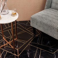 Empire Nero Marble & Brass Tile | TileBar.com