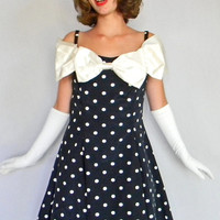 Twee Black White Polka Dot Dress. 60s Pinup dress. Off the  shoulder. Tulle bow. Mad Men Fashion. Party Dress. Rockabilly Dress