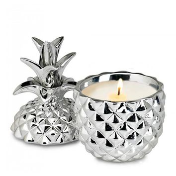 SILVER CERAMIC PINEAPPLE CANDLE