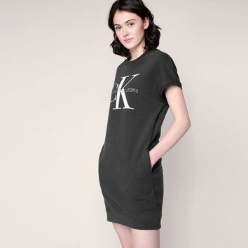 PEAPON CK Calvin Klein Women Fashion Short Sleeve Sweatshirt Mini Dress