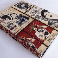 ONLY ONE - Handmade Fabric Journal Notebook Diary - Coptic Stitched - Vintage Communication - Gramophone - Medium