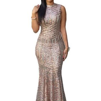 Sequins Open Back Women's Maxi Dress