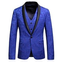Royal Blue Jacquard Men's Formal Tuxedo Suits