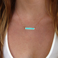 Turquoise Bar Necklace Stone Bar Necklace Dainty Gold Fill or Sterling Silver Necklace Layering Minimalist Necklace Gemstone Necklace