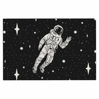 "Kess Original ""Space Adventurer"" Black Fantasy Decorative Door Mat"