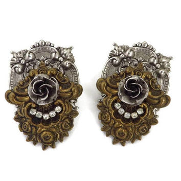 Victorian Style Two Tone Earrings | Vintage 1950s Rhinestone Pierced Post Earrings