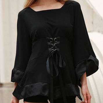 Sweetheart Flare Sleeve Lace-Up Detail Blouse