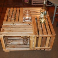 """Wine table made of crates. Reclaimed pallet wood wine table. 30.25"""" x 30.25"""" x 16"""""""