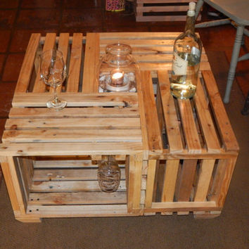 "Wine table made of crates. Reclaimed pallet wood wine table. 30.25"" x 30.25"" x 16"""