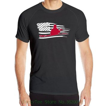 Firefighter Red Usa Flag T-Shirts - Men's Crew Neck Novelty Top Tee