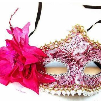 Side Flower Princess Masquerade Masks Party Mask Fashionable Women Halloween Mask Female Lower Half Mask Lady's Makeup Props